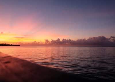 Le coucher de soleil à Moorea. À voir une fois dans une vie !