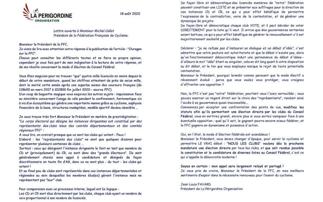 Lettre ouverte à Michel Callot de Jean-Louis Favard Président de La Périgordine